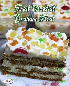 Fruit Cocktail Graham Float Recipe – Our favorite Sweet and Fruity Graham Float cake is perfectly packed individually, and it's ready for home or online business. Pinoy Dessert, Filipino Desserts, Filipino Recipes, Pinoy Recipe, Filipino Food, Graham Cake Filipino, Food Business Ideas, Pinoy Food, Juicy Fruit
