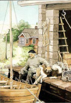 inge look art work   Gramps' Best Friend. Inge Look Postcard 111