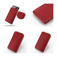 PDair Leather Case for The New HTC One 801e 801s - Vertical Pouch Type (Red)