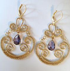 Olivia Purple Chandelier Earrings by kealanidesigns on Etsy, $24.00
