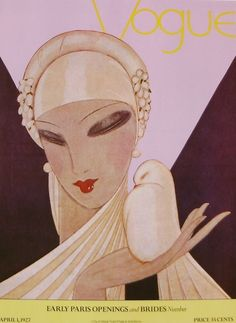 Vintage Vogue Cover April 1927 - Early Paris Openings and Brides Number