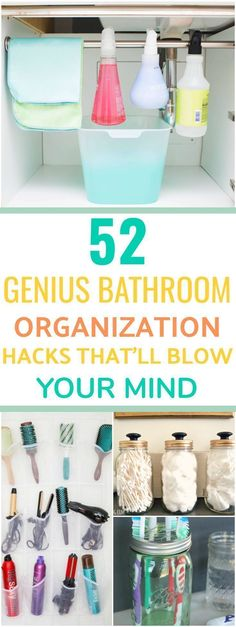 These 52 bathroom organization hacks are seriously SO HELPFUL! I can't believe how clever these ideas are and can't wait to put them to use!