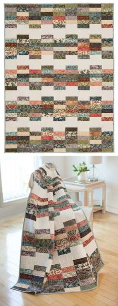 """As shown: 54 x 72. Could add another strip to make longer. The Lady Kit from Keepsake Quilting (great use of 2.5"""" strips)"""