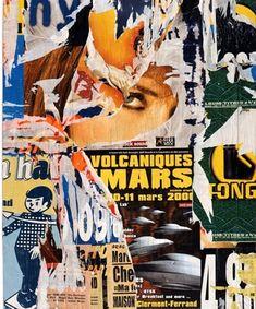 Jacques Villeglé, CLERMONT-FERRAND, 4 mars 2000 Paintings, decollage on canvas 146 x 113.8 cm