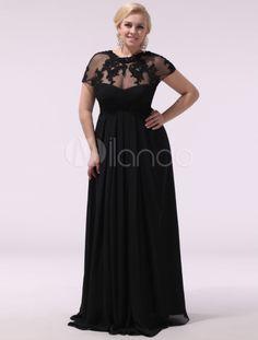 Black Applique High Collar Short Sleeves A-line Charming Evening Dress - Milanoo.com