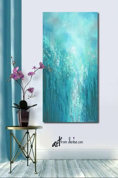 Large original wall art, Gray turquoise teal green & blue, Tall vertical canvas abstract painting - All About Decoration Large Canvas Wall Art, Extra Large Wall Art, Abstract Canvas, Canvas Art, Teal Green, Blue, Teal Walls, Shades Of Turquoise, Your Paintings