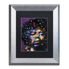 """Trademark Art """"Jimi"""" by Dean Russo Matted Framed Painting Print Size:"""