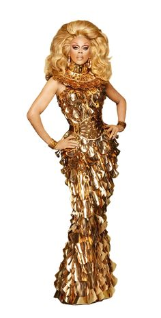 RuPaul serving in a fierce gold dress Drag Queen Costumes, Drag Queen Outfits, Rupaul Drag Queen, Drag Queen Makeup, Queen Aesthetic, Drag King, Lgbt, Glamour, Halloween Disfraces