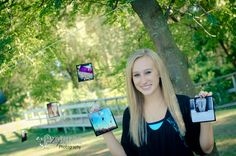 Add the senior's own photography into her session in a creative way.