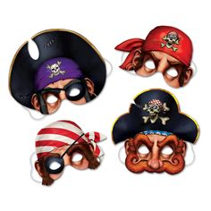 4 pc PIRATE Birthday Party Disposable Paper Masks Favors | eBay