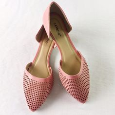 """Perforated Pointed Flats NWOT these flats are perfect for spring! These shoes are marked size 10 but WILL NOT FIT A SIZE TEN. They run very small so please regard measurements and listed size when considering. 10"""" sole including pointiest part. 3"""" wide where ball of foot rests. Carrini Shoes Flats & Loafers"""