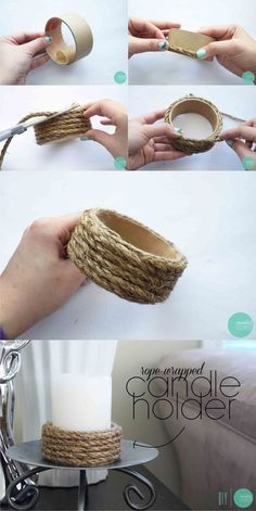 Portavelas con tubo de cartón y cuerda (Muy Ingenioso) - Kendin yap You are in the right place about diy face mask Here we offer you the most beautiful pict - Rope Crafts, Diy Home Crafts, Diy Home Decor, Upcycled Crafts, Twine Crafts, Bamboo Crafts, Room Decor, Diy Para A Casa, Diy Candle Holders