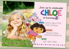 Blank custom dora cheap birthday invitations cards birthday dora birthday invitation filmwisefo