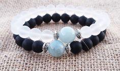 COUPLES Aquamarine Bracelet Couples Gifts Black Onyx White #couplesbracelet #handmade #relationshipgifts #aquamarinebracelet