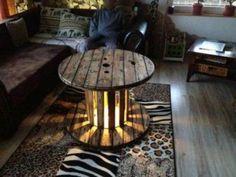 Deko Tisch Holztisch Vintage Kabeltrommel