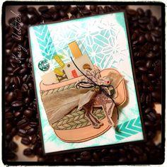 Cozy Wishes and...Coffee... #funstampersjourney401 #fsjourney #fsj #coffee #stencil #cardmaking #mixedmedia #giftcardholder #kitofthemonth #cozywishes @FSJourney @ri