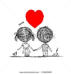Couple in love together, valentine sketch for your design - stock vector