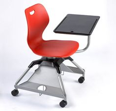 Dynamic red classroom desk with wheels.