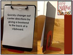 Book end glued to a clip board - will post center learning goal and directions.