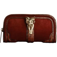 BURBERRY COUNTRY ANIMAL SUEDE CLUTCH (€6.080) ❤ liked on Polyvore featuring bags, handbags, clutches, purses, accessories, wallets, women's accessories - bags, suede purse, fox handbags and red handbags