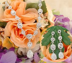 Bridal crystal necklace and earring set with tear drop crystal