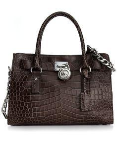 MICHAEL Michael Kors Handbag, Hamilton Croc-Embossed Satchel - Handbags - Handbags & Accessories - Macy's $348.00