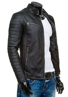 BOLF Hombre Chaqueta Multipurpose Cuero De Imitación Cuello Bolsillos FEIFA FASHION 9111 Negro XXL [4D4]