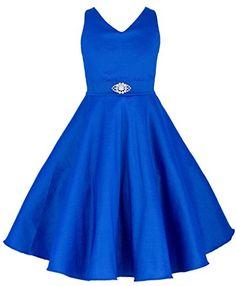 Wonder Girl Taffeta V Neck Big Girls' Dress Flower Brooch Sash 12 ROYAL BLUE