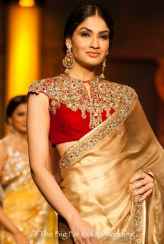 There is something about Ashima and Leena's bridal collections that entrance you. The clothes are not decidedly ornate with Swarovski crystals and gems, nor totally bland. They are the amalgamation of Sari Blouse Designs, Bridal Blouse Designs, Blouse Styles, Indian Bridal Outfits, Indian Blouse, Big Fat Indian Wedding, Saree Wedding, Wedding Blouses, Wedding Wear