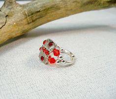 Red Crystal Stretch Ring  Cocktail Ring  Swarovski by babbleon