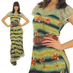 Boho maxi Dress Floral Dress Hippie Dress Lace Dress Bohemian Dress Gypsy Dress Peasant Dress Sun Dress Rayon Dress Ombre Dress Party dress by SHABBYBABEVINTAGE on Etsy