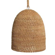Jeffrey Alan Marks Collection. Pendant intricately woven with core rattan and natural rope.  Rope: 5' Inline Rocker Switch