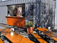 Architects Envelope A+D, members of the Remodelista Architect/Designer Directory, put a shipping container to use when designing Suppenküche's outdoor German biergarten. The restaurant is part of the Proxy Project in San Francisco's Hayes Valley Café Container, Container Coffee Shop, Container Design, Container Buildings, Container Architecture, Snack Bar, Shipping Container Cafe, Shipping Containers, Container Restaurant