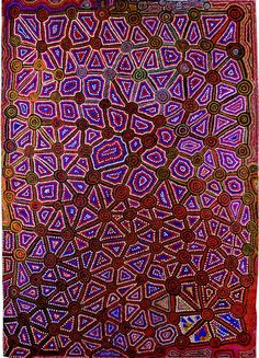 Jackie Giles, Tingari Minyma Tjinangka, 1991, acrylic polymer on canvas, 132 x 186 cm. Collection, Warburton Arts Project. Painting shows creation stories of Tingarri women travelling over country to the Northeast of Karilywarra.