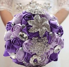 Handmade Wedding Brooch Rhinestone Bridal Bouquet Satin Rose Flower for sale online Bridal Brooch Bouquet, Rose Wedding Bouquet, Bridesmaid Flowers, Purple Wedding, Wedding Bridesmaids, Wedding Flowers, Wedding Cake, Summer Wedding, Hair Wedding
