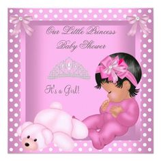 African American Princess Baby Shower Girl Pink Personalized Invites