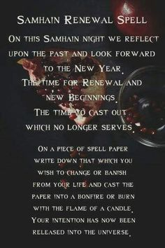A spell for samhain Samhain Ritual, Pagan Witchcraft, Wiccan Witch, Blessed Samhain, Samhain Traditions, Samhain Halloween, Baby Witch, Witch Spell, Sabbats