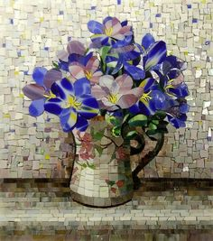 Blue pops! #mosaic #flowers