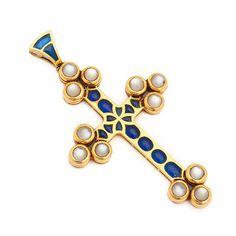 Renaissance Revival Plique-à-Jour Enamel Moonstone Gold Cross Pendant | From a unique collection of vintage drop necklaces at https://www.1stdibs.com/jewelry/necklaces/drop-necklaces/