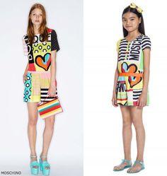 0a2b649f235e50 Moschino Girls Mini Me Happy Hearts Yellow Graphic Dress Girls Designer  Clothes