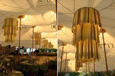 Casamentos DIY: Lustre - DIY - Pétalas de flores, papel em degradê ou tiras de pano