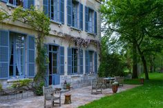 """CATHERINE-DENEUVE""""s Beautiful house and the perfect French blue."""