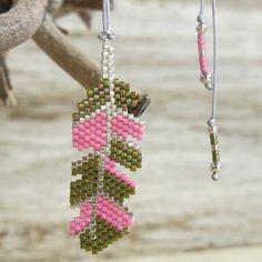 Collier Plumy perles rose kaki  Soline