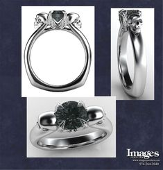 "Our ""Angels and Demons 2"" Engagement Ring has a 1 carat black diamond center and white diamond eyes."
