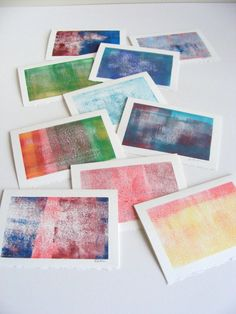 10 Monoprint Cards OOAK Original Artwork 5in by amandamariestudios, $32.50
