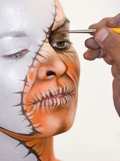 Body painting, or sometimes bodypainting, is a form of body art. Unlike tattoo and other forms of body art, body painting is temporary, pa. Adult Face Painting, Woman Painting, Painting Art, Female Body Paintings, Face Paintings, Theatrical Makeup, Make Up Art, Maquillage Halloween, Halloween Makeup