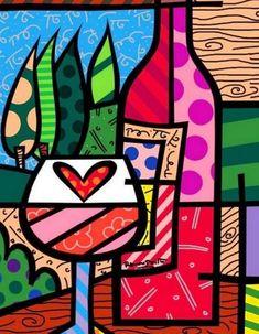 Wine Glass And Bottle 2000 by Romero Britto - Limited Edition Print Pintura Graffiti, Graffiti Painting, Retro Kunst, Retro Art, Pop Art, Arte Pop, Tableau Design, Kunst Poster, Wine Art