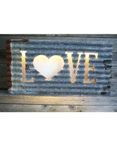 LED Illuminating Sign - Gray/Rust - Love with Heart