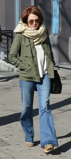 Back to the 70s: Julianne Moore rocked some flared jeans on Saturday as she hit New York City