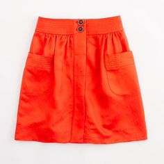 """J. Crew Factory Dorrie skirt Vibrant red/orange skirt. Button closure. Patch pockets. 18"""" in length. Linen and rayon shell with lining. In fantastic condition. J. Crew Skirts Mini"""